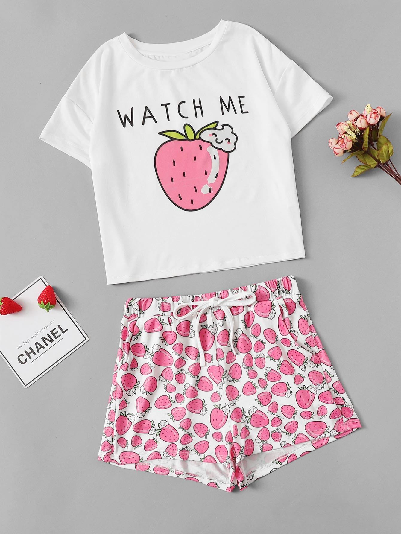 Футболка с принтом клубники и шорты пижамы комплект для девочек от SheIn
