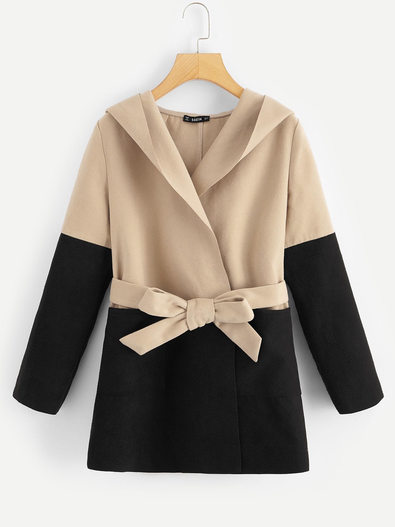 Купить Контрастная длинная куртка с поясом и капюшоном, null, SheIn