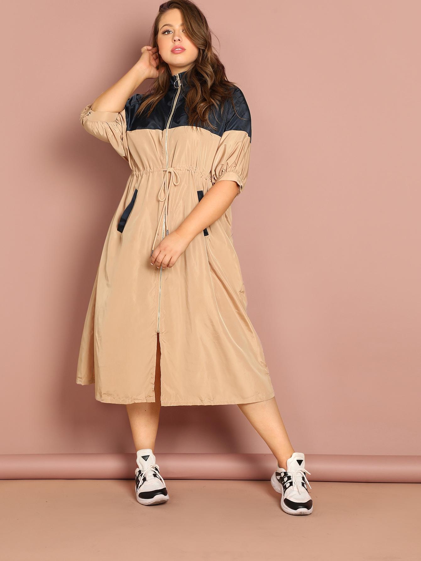 Купить Двухцветное длинное пальто с кулиской размера плюс, Bailey Carr, SheIn