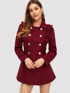 Double Breasted Ruffle Trim Flared Trench Coat