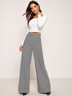 Zip Up Plaid Wide Leg Pants