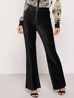 Zip Front Solid Flare Pants