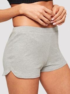 Elastic Waist Solid Shorts