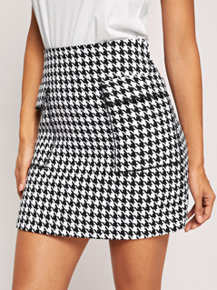 Flap Pocket Detail Houndstooth Skirt