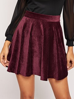 Pleated Solid Cord Skirt
