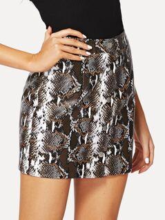 Button Up Snakeskin Skirt