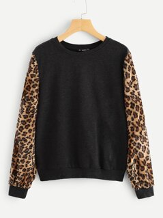 Leopard Sleeve Pullover
