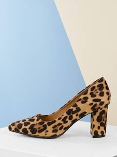 Leopard Pointy Toe Block Heel Classic Padded Pumps