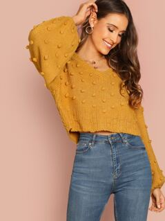 V-Neck Pom Pom Detail Puff Sleeve Pullover Sweater