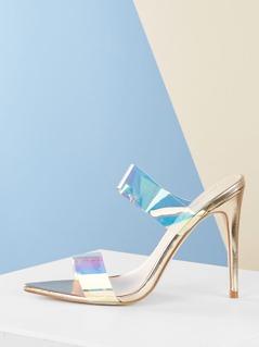 Double Iridescent Strap Pointy Toe Stiletto Heels