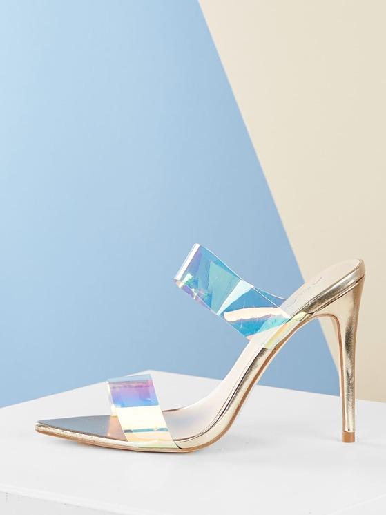 6c87562adfee5 Double Iridescent Strap Pointy Toe Stiletto Heels