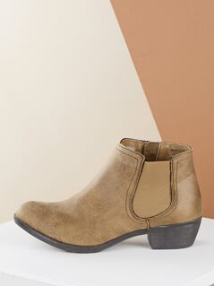 Low Heel Elastic Side Almond Toe Chelsea Booties