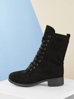 Lace Up Shearling Lined Low Heel Military Boots