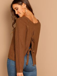 Round Neck Back Tie Pullover Knit Sweater