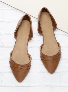 Pleated Detail Slip On Dorsay Style Flats