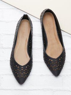 Laser Cut Out Slip On Flat Ballet Shoes