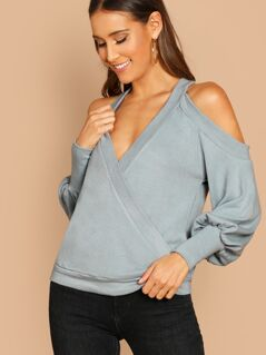 Open Shoulder V-Neck Pullover Knit Sweater Top