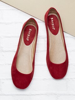Square Toe Slide On Ballet Slippers