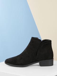 Side Zip Low Heel Almond Toe Ankle Boots