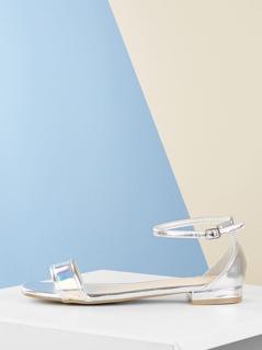 Single Band Ankle Strap Metallic Flat Sandals