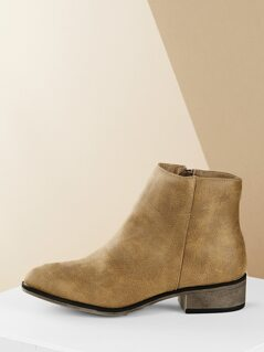 Distressed Low Heel Almond Toe Side Zip Bootie