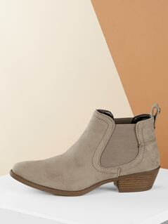 Elastic Side Almond Toe Chunky Heel Ankle Boots