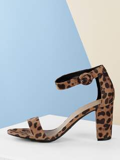 Leopard One Band Ankle Strap Chunky Heel Sandals