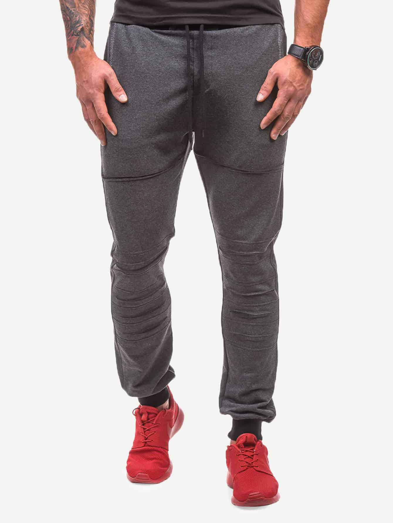 Купить Мужские рваные однотонные джинсы с карманом, null, SheIn