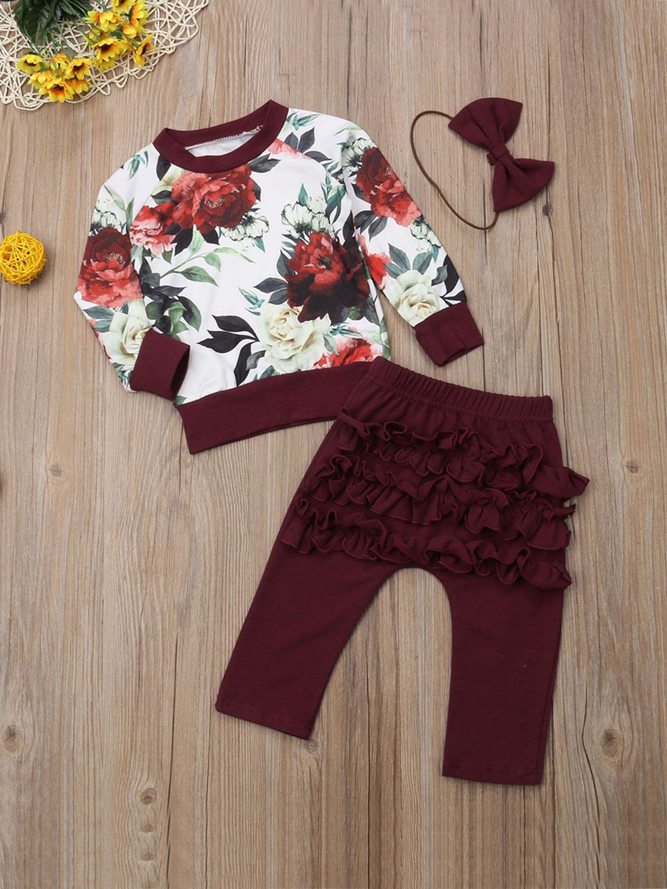 Купить Топ с цветочным принтом и однотонные брюки с оборкой и повязкой на голову для маленьких девочек, null, SheIn