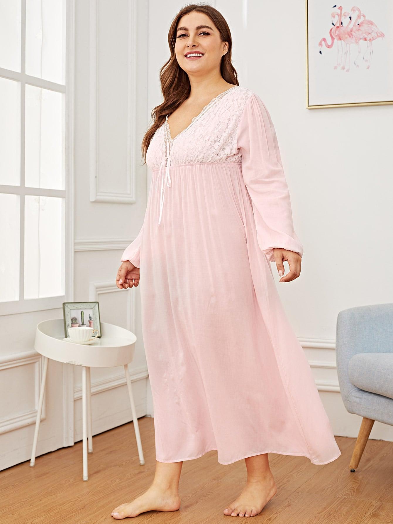 Купить Размера плюс ночная сорочка с бантом и контрастными кружевами, Franziska, SheIn