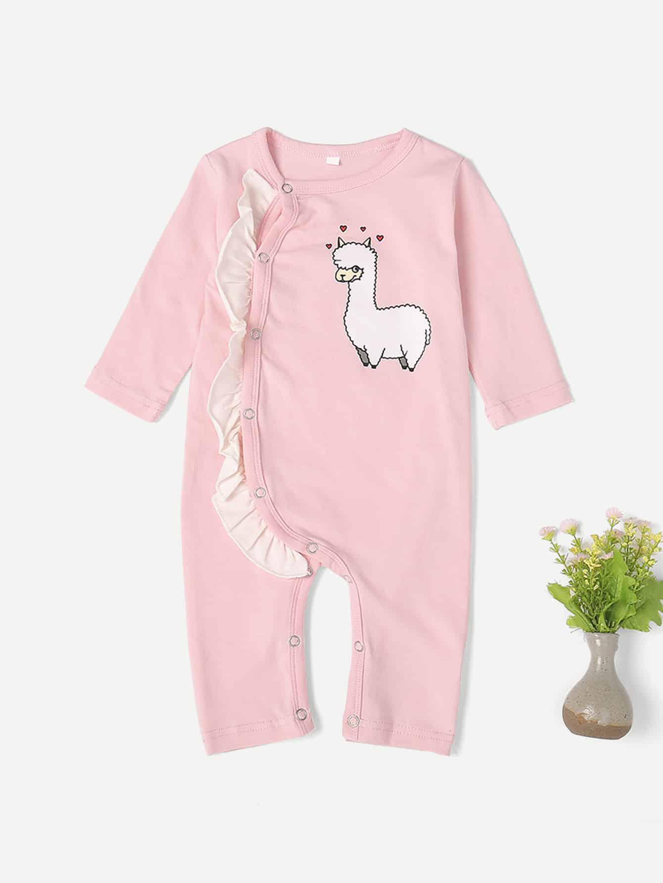 Купить Комбинезон с кружевными оборками и принтом овцы для маленьких малышей, null, SheIn