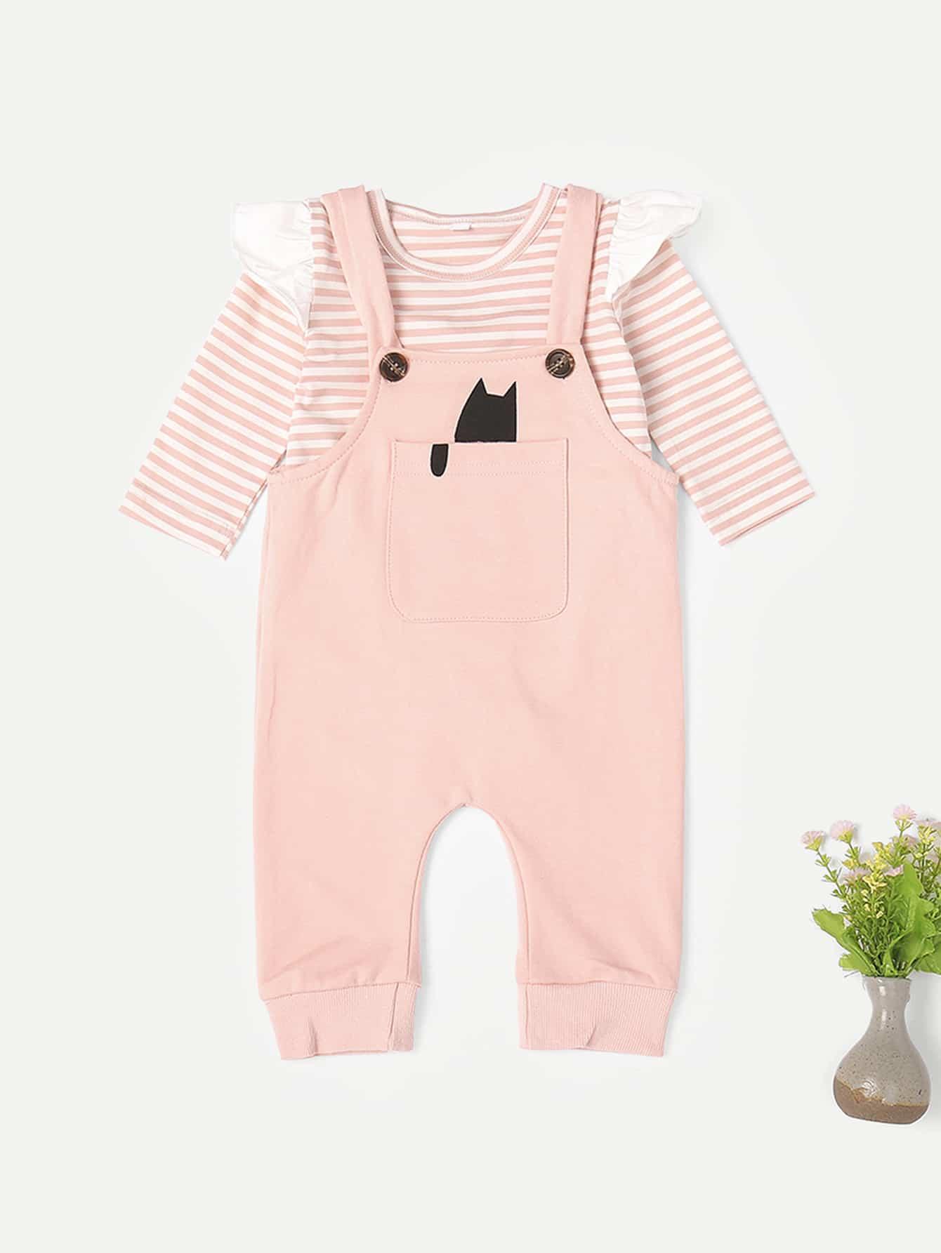 Купить Полосатая блуза с кружевными оборками и комбинезон для маленьких малышей, null, SheIn