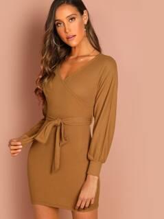 Surplice Neck Self Belted Dress