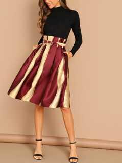 Slant Pocket Self Belted Skirt