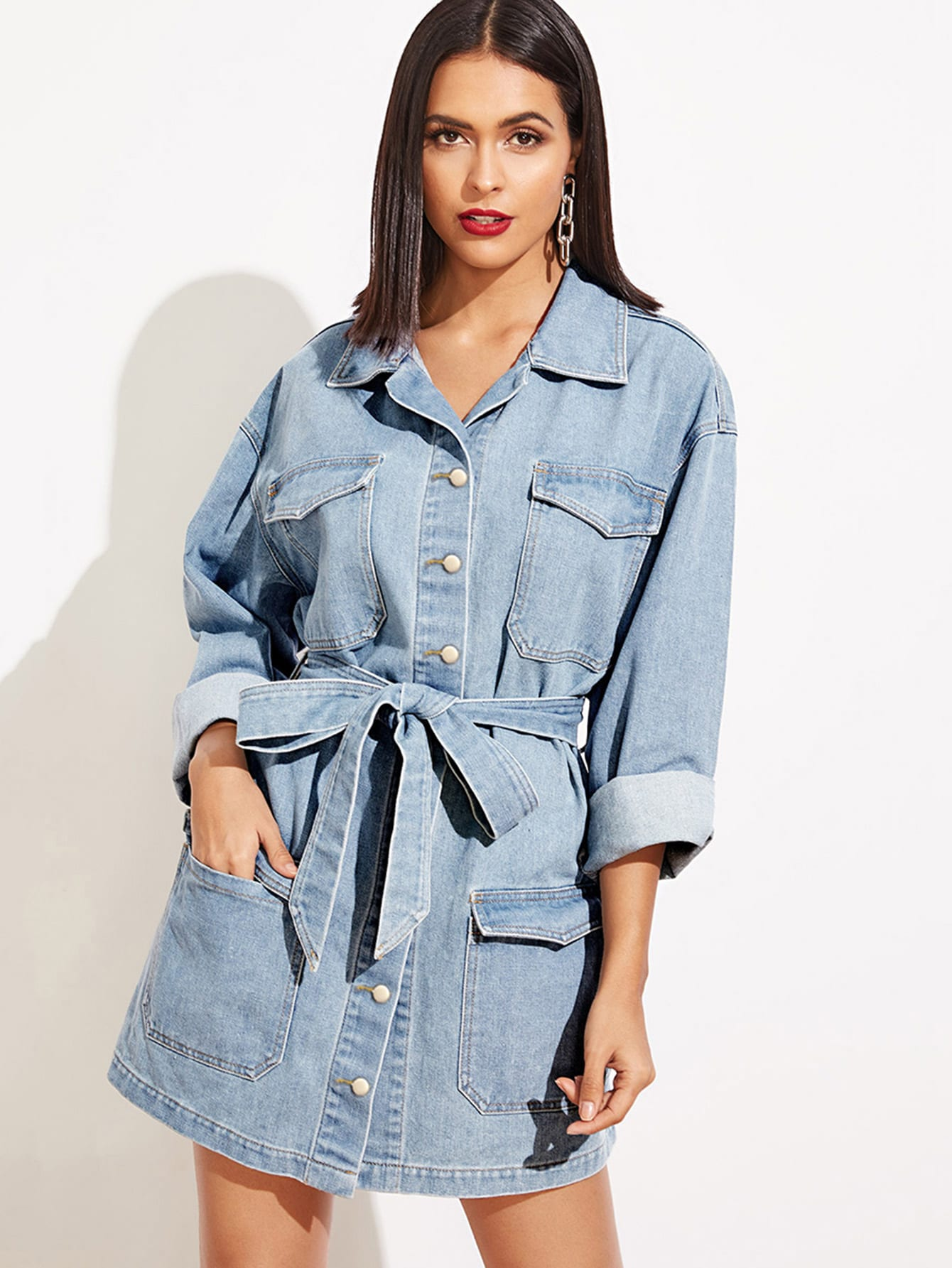 ba534080aff Pocket Patched Buttoned Denim Dress