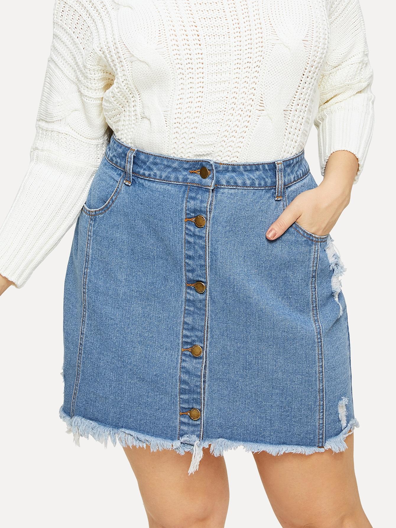 Купить Размера плюс юбка с пуговицами и необработанным низом, Isabela, SheIn