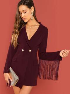 Fringe Trim Double Breasted Fitted Coat