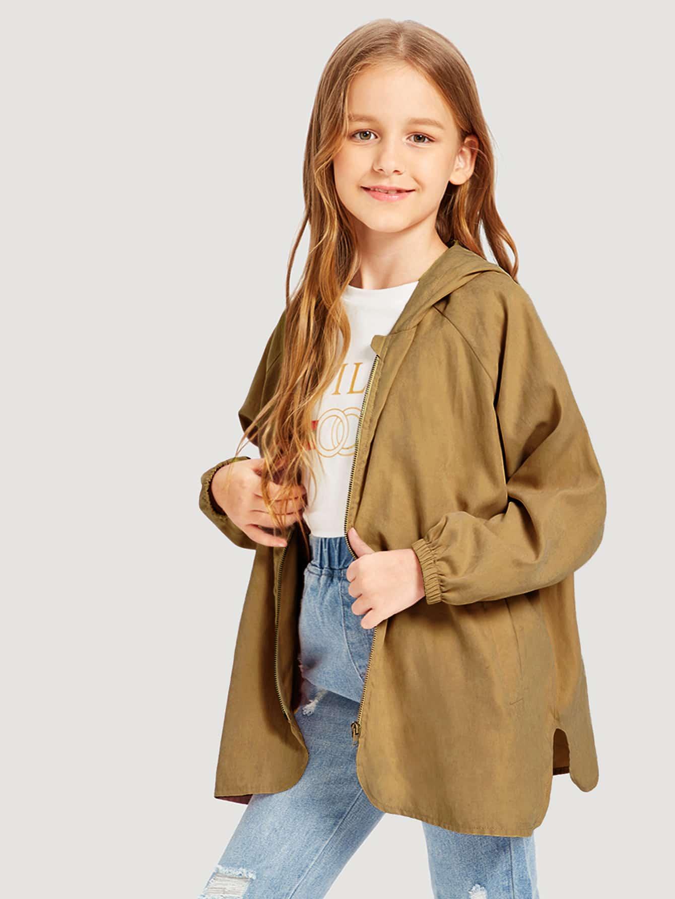 Купить Куртка с капюшоном на молнии для девочек, Sashab, SheIn