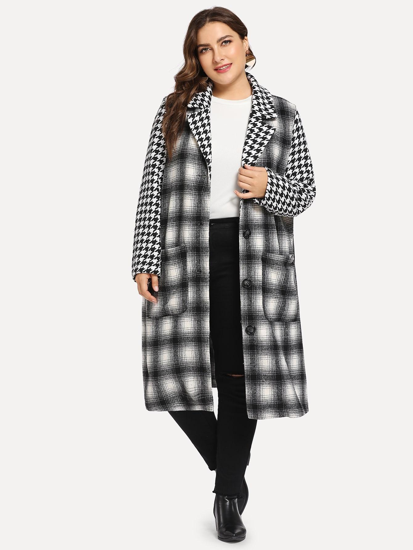 Фото - Плюс размера пальто на пуговицах от SheIn цвет чёрнобелые