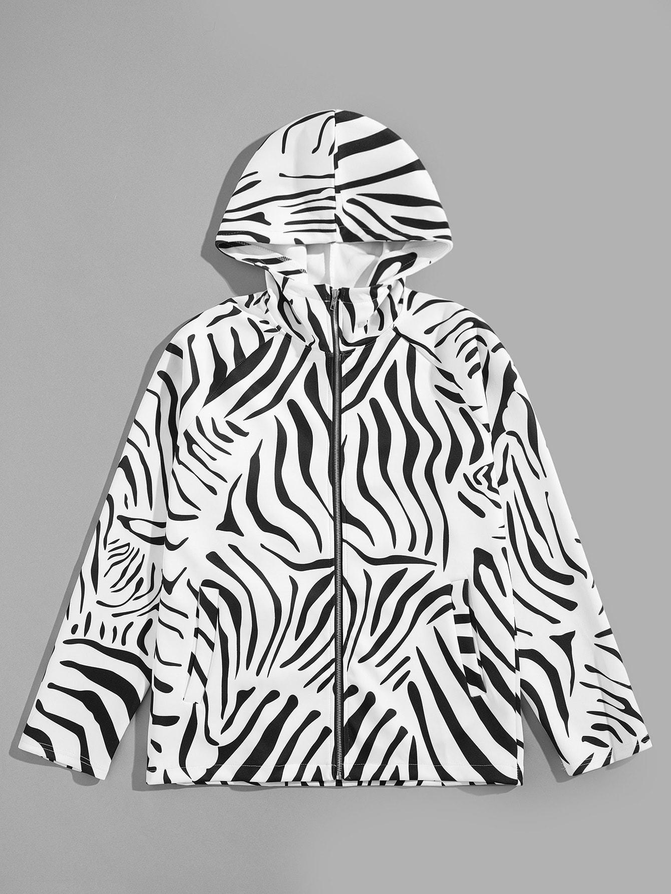Купить Мужское пальто с капюшоном с принтом жевотных, null, SheIn