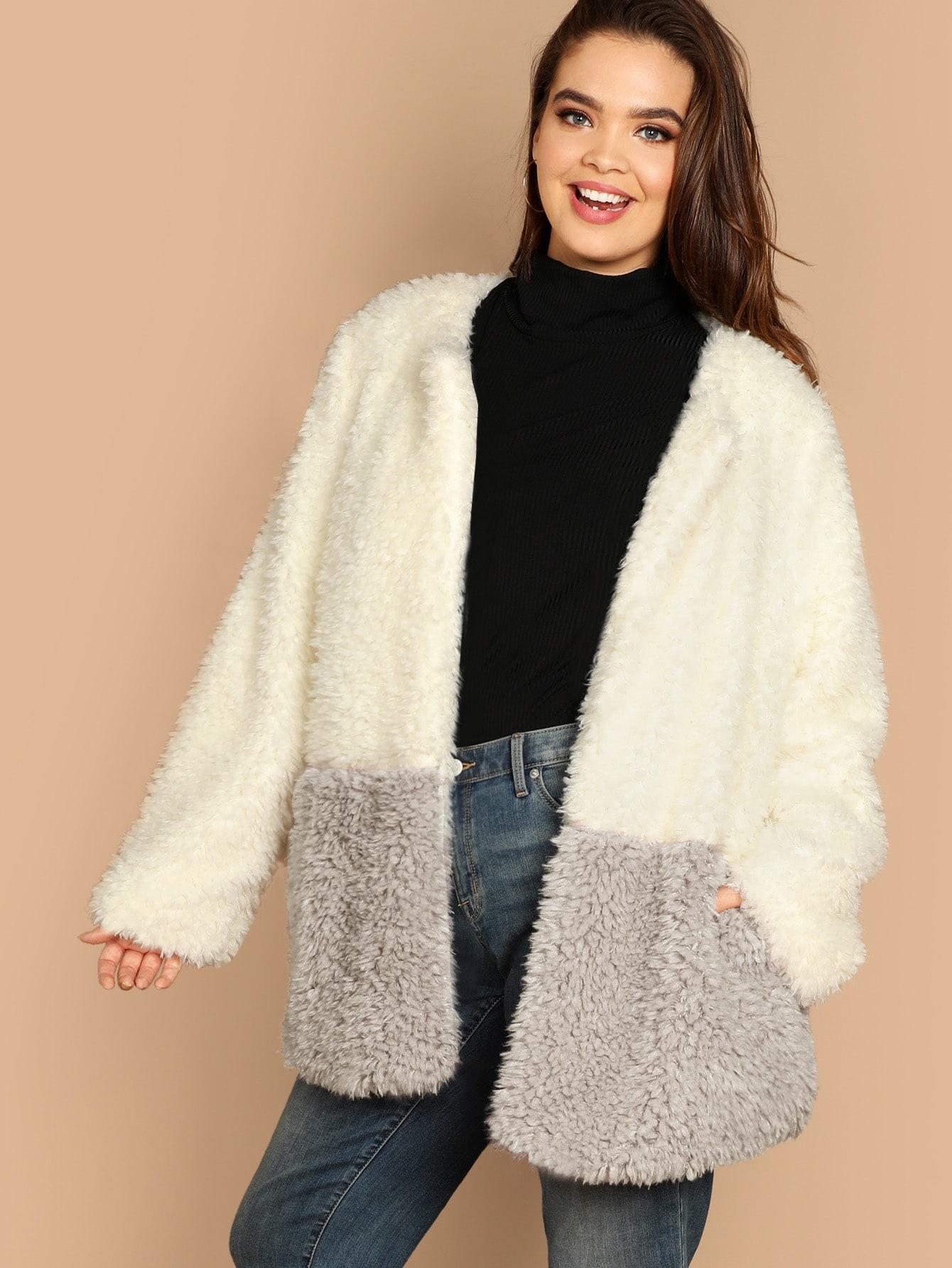 Купить Двухцветное плюшевое пальто размера плюс, Faith Bowman, SheIn