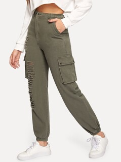 Elastic Hem Ripped Utility Pants