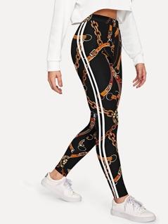 Equestrian Print Striped Side Leggings
