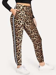 Drawstring Waist Leopard Print Pants