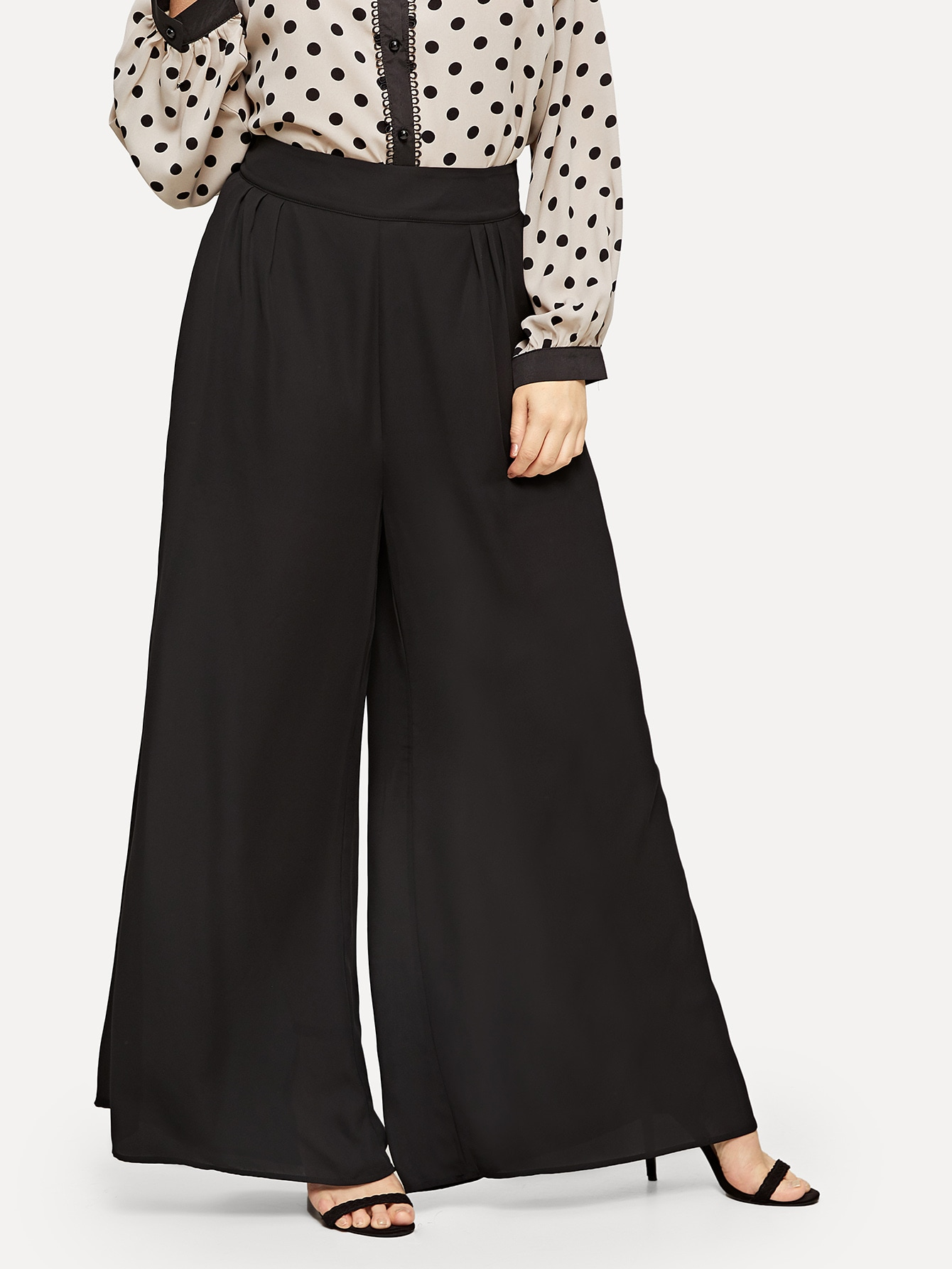 Купить Размера плюс широкие брюки со складкой, Isabela, SheIn