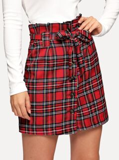Button Up Belted Plaid Skirt