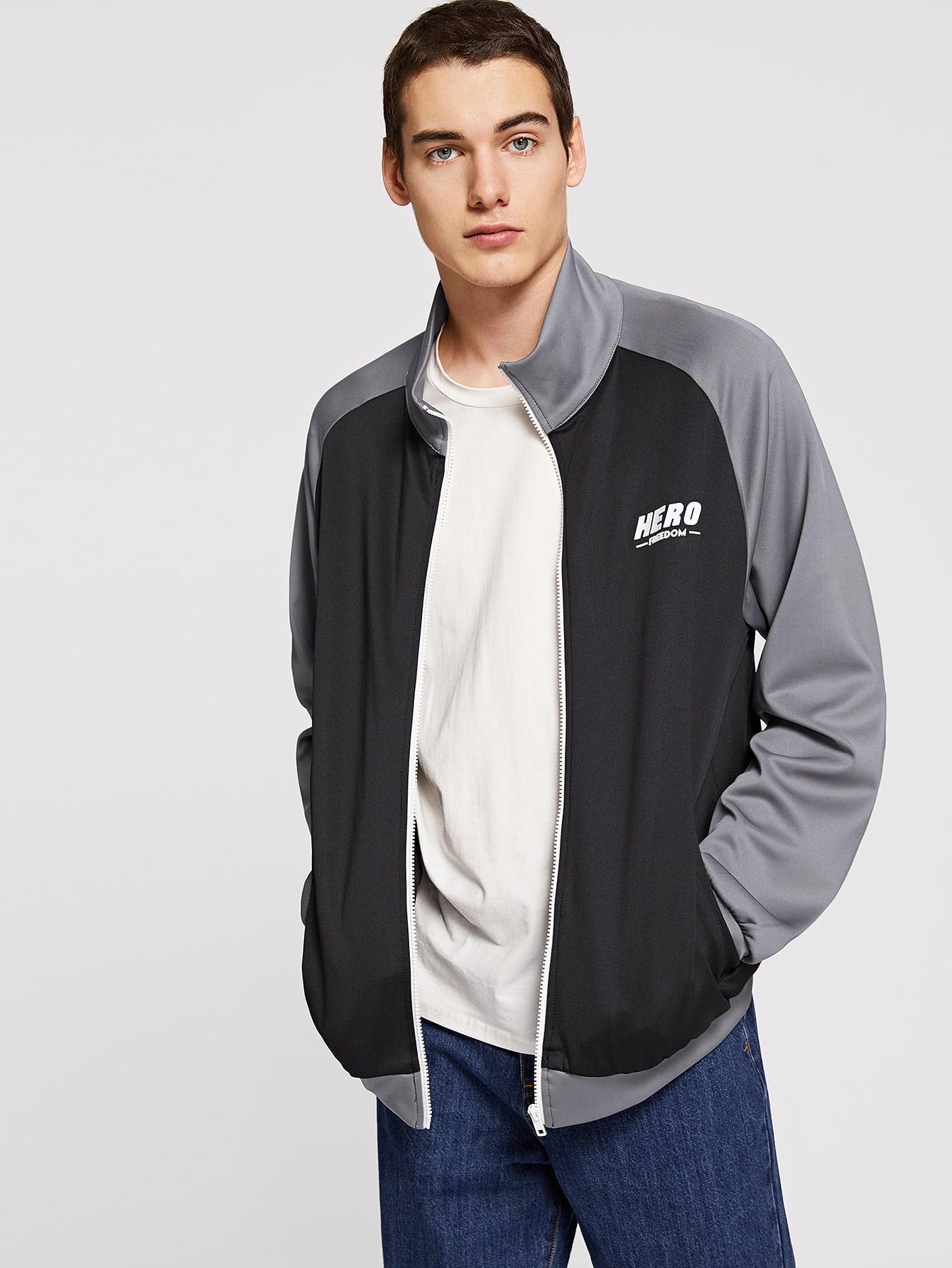 Купить Мужская двухцветная куртка с текстовым принтом, Misha, SheIn
