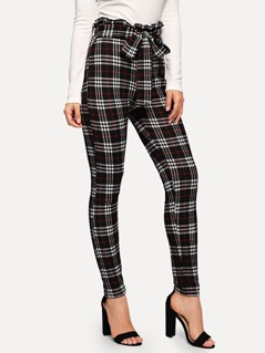Waist Belted Ruffle Plaid Pants