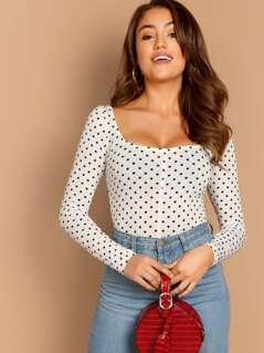 Polka Dot Print Square Neck Tee