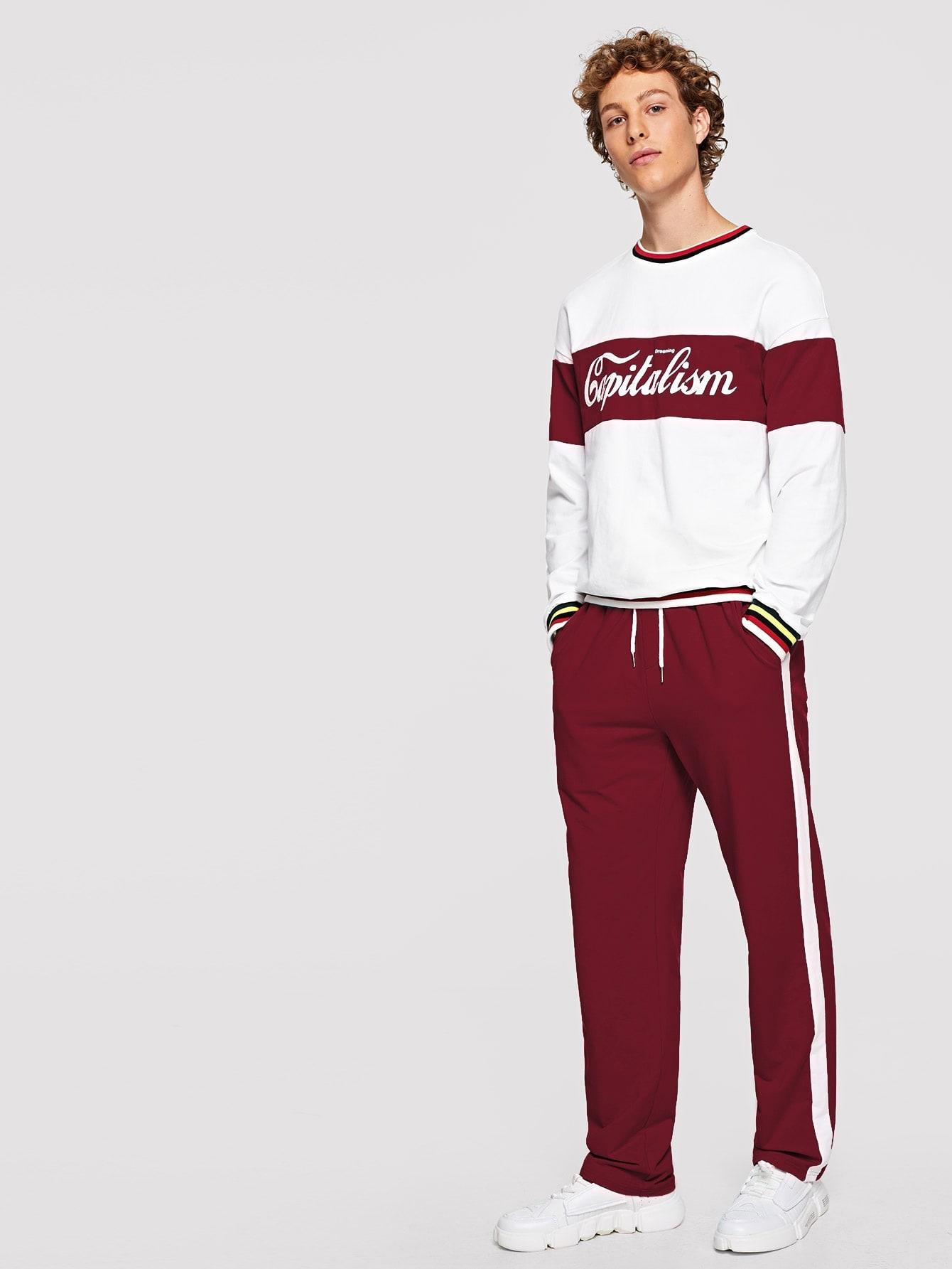 Купить Мужская блуза с полосатыми оторочками и принтом букв и брюки, Kristian, SheIn
